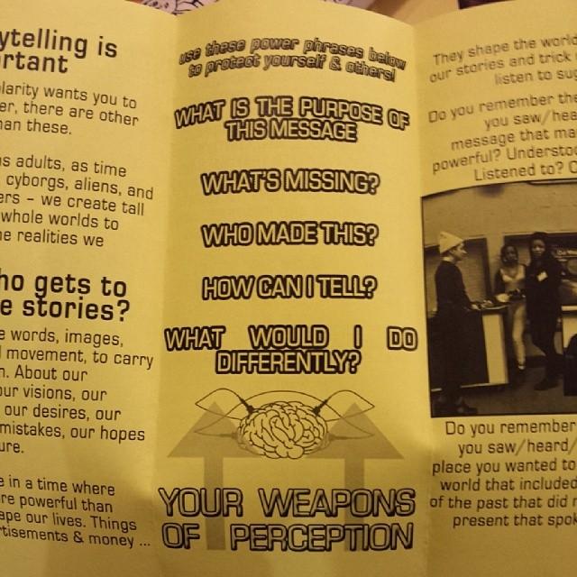 a close-up shot of Metropolarity's media literacy brochure